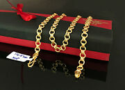 18 Kt Hallmark Real Solid Yellow Gold Curb Cuban Necklace Link Chain 14.520 Gram