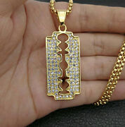 Fine Jewelry 18 Kt Real Solid Yellow Gold Cubic Zirconia Blade Necklace Pendant