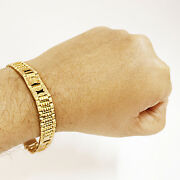 Fine Jewelry 18 Kt Real Solid Yellow Gold Menand039s Bracelet 24.720 Gms Wide 11 Mm