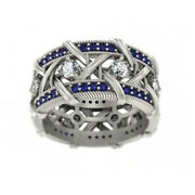 Fine Jewelry 14 Kt Solid White Gold Blue Sapphire Cz Gemstone Womenand039s Band Ring