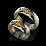 14 Kt Real Solid White And Yellow Gold His And Her Wedding Couple Bands 2pc Rings