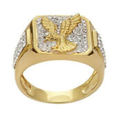 18 Kt Solid Yellow Gold Size 89.51011 Zircon Cz Wedding Wear Menand039s Eagle Ring