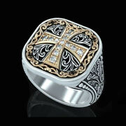 Fine Jewelry 14 Kt Real Solid White Gold Cross Antique Menand039s Ring Size 91011