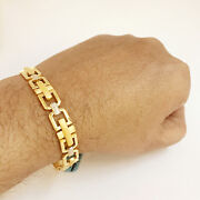 Fine Jewelry 18 Kt Real Solid Yellow Gold Hallmark Menand039s Bracelet 24.700 Grams
