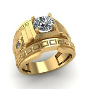 Fine Jewelry 18 Kt Real Solid Yellow Gold Cz Menand039s Engagement Ring Size 91011