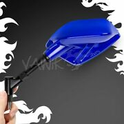 Magazi Fin Style Blue Motorcycle Mirrors 8mm 1.25 Pitch Fits Custom Scooter Andepsilon