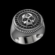 Fine Jewelry 14 Kt Solid White Gold Skeleton Onyx Antique Ring Size 89101112