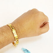Fine Jewelry 18 Kt Real Solid Yellow Gold 2 Tone Menand039s Bracelet 18.900 Grams