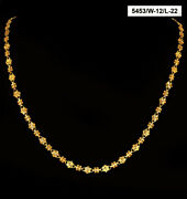 22 Kt Hallmark Real Solid Yellow Gold Iced Out Dubai Long Necklace Chain 22 Gram