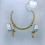 22kt Fine Solid Yellow Gold Necklace Earrings Women Round Pipe Set 19.380 Grams