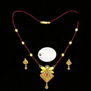 22kt Solid Yellow Gold Antique Necklace Earrings Women Pendant Set 18.900 Grams