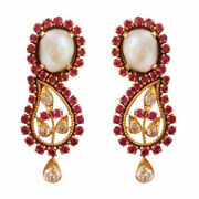 Igi 0.35ct Genuine Diamonds Ruby And Pearl 18kt Yellow Gold Drop Earrings Antique