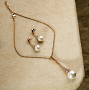18 Kt Real Solid Hallmark Yellow Gold Pearl Drops Necklace Earrings Womenand039s Set
