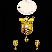 22kt Solid Yellow Gold Antique Necklace Earrings Women Pendant Set 19.010 Grams