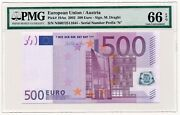European Union Austria Banknote 500 Euro 2002 Pmg Ms 66 Epq Gem Uncirculated