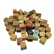 Vintage Lot Of 68 Assorted Alphabet Blocks Childrenand039s Toy - Great For Early Ed.