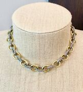 David Yurman Silver And 18k Necklace- Designer- Vintage Estate- 15.5- Link- 925