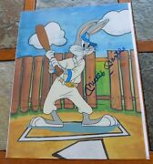 Baseball Bugs Animated Cel Signed By Mickey Mantle