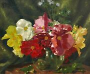 Garcia Painter Spanish French Oil Painting Canvas Still Life Flowers Vase Spain