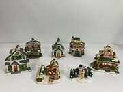 Lot Of 5 Christmas Village Cobblestone Corners Houses Windham Heights 2003, 2004