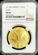 2015 Mo Gold Mexico 1 Oz Onza Libertad Winged Victory Coin Ngc Mint State 69
