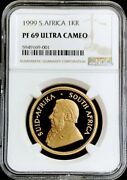 1999 Gold South Africa Krugerrand 1 Oz Coin Ngc Proof 69 Ultra Cameo 2787 Minted
