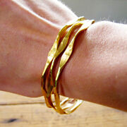 Fine Jewelry 18 Kt Real Solid Yellow Gold Hammered Wavy Stacking Bangle Bracelet