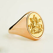 22 Kt Real Solid Yellow Gold Sovereign Coat Of Arms Saint George Menand039s Ring