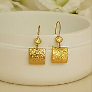 22 Kt Hallmark Real Solid Yellow Gold Unique Rectangle Dangle Drop Earrings