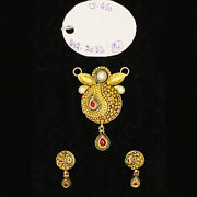 22kt Solid Yellow Gold Antique Necklace Earrings Women Pendant Set 15.460 Grams