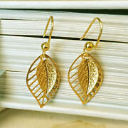 18 Kt Hallmark Real Solid Yellow Gold Filigree Leaf Womenand039s Dangle Drop Earrings