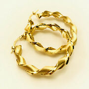 18 Kt Hallmark Solid Yellow Gold Unique Torchon Womenand039s Huggie Hoop Earring