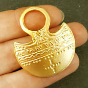 22 Kt Real Solid Yellow Gold Tribal Ethnic Dome Geometric Matte Necklace Pendant