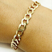 Fine Jewelry 18 Kt Real Solid Yellow Gold Cuban Link Chain Menand039s Bracelet 8 Mm
