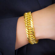 Fine Jewelry 18 Kt Hallmark Real Solid Yellow Gold Chain Luxury Menand039s Bracelet