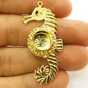 22 Kt Hallmark Real Solid Yellow Gold Blank Seahorse Base Inlay Necklace Pendant