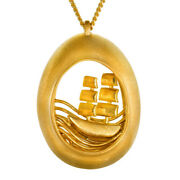 Fine Jewelry 18 Kt Real Solid Yellow Gold Nautical Ship Chain Necklace Pendant
