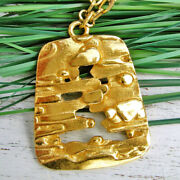 18 Kt Solid Yellow Gold Trifari Modernist Nugget Abstract Chain Necklace Pendant