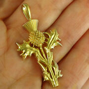Fine Jewelry 22 Kt Hallmark Real Solid Yellow Gold Thistle Necklace Pendant