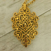 18 Kt Real Solid Yellow Gold Vintage Trifari 1970and039s Chain Necklace Pendant