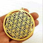 22 Kt Real Solid Yellow Gold Round Flower Of Life Yoga Ethnic Necklace Pendant