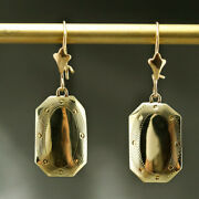 18 Kt Hallmark Real Solid Yellow Gold Spike Statement Dangle Drop Earrings