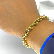 Fine Jewelry 18 Kt Hallmark Real Solid Yellow Gold Rope Chain Menand039s Bracelet 20g