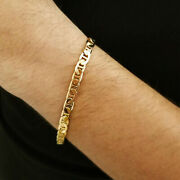 Fine Jewelry 18 K Hallmark Real Solid Yellow Gold Stacking Chain Menand039s Bracelet