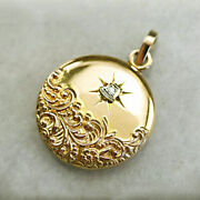 18 K Real Solid Yellow Gold Monogramed Lma Engraved Keepsake Cz Necklace Pendant