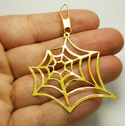 Fine Jewelry 22 Kt Hallmark Real Solid Yellow Gold Spiderweb Necklace Pendant