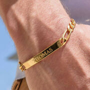 18 Kt Hallmark Real Solid Yellow Gold Personalized Menand039s Id Engraved Bracelet