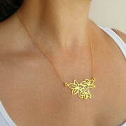 Fine Jewelry 18 Kt Hallmark Real Solid Yellow Gold Flower Chain Necklace Pendant