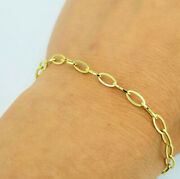 Fine Jewelry 18 K Hallmark Real Solid Yellow Gold Oval Link Chain Menand039s Bracelet