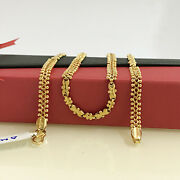 18 Kt Hallmark Real Solid Yellow Gold Link Necklace Chain For Women 18.050 Grams